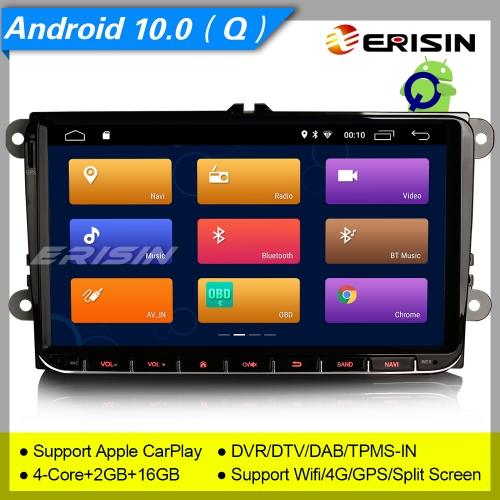Erisin ES3001V GPS SWC Android 109.0 Autoradio For VW Seat Golf T5 Superb Leon Altea DAB+CarPlay OBD II DVR TPMS  4G Split Screen Mirror Link