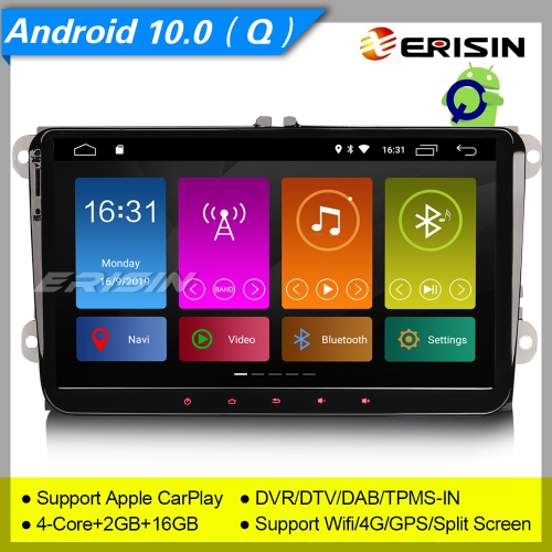 "Erisin ES3091V CarPlay DSP Android 10.0 Autoradio For VW Seat Golf T5 Superb Leon Altea DAB+ 9"" SWC TPMS DVR OBDII Mirror Link Bluetooth Split 4G CAM"
