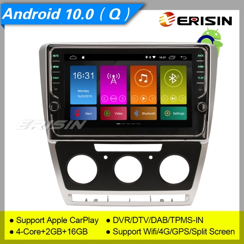 "Erisin ES3126S For VW Skoda Octavia SWC Bluetooth 5.0 GPS Autoradio Android 10.0 DAB+  9"" TNT TPMS CarPlay TPMS DVR OBDII Mirror Link Split 4G CAM"