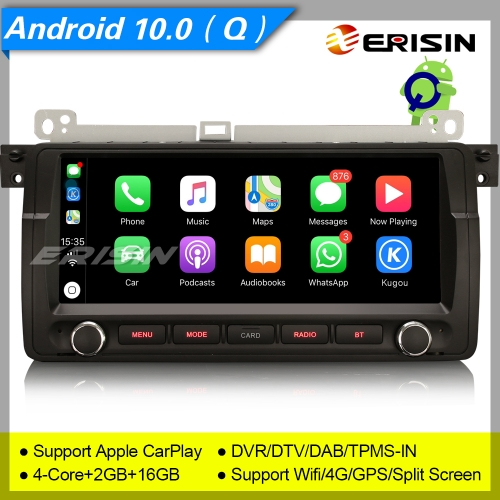 "Erisin ES3006B BMW 3 Series E46 M3 Rover 75 MG ZT Autoradio SWC GPS Android 10.0 DAB+ 8.8"" TNT TPMS CarPlay TPMS DVR OBDII Mirror Link Split 4G CAM"