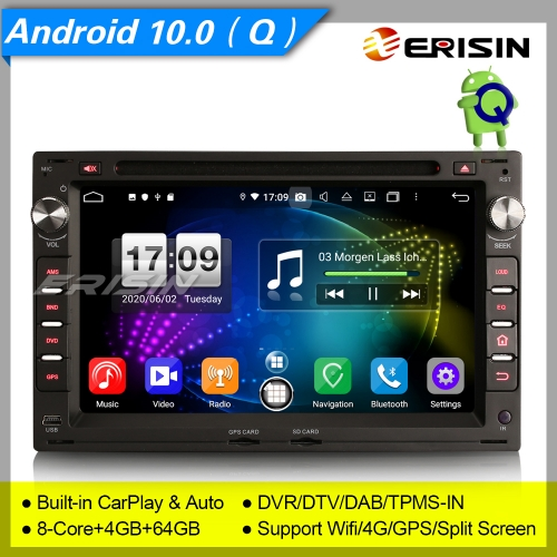 "CarPlay Android 10.0 Autoradio For VW Passat Peugeot 307 Golf 4 Bora DSP DAB+ 7"" Erisin ES8709V"