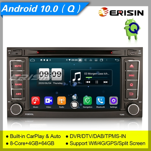 "CarPlay Android 10 PX5 For VW T5 Multivan Touareg Autoradio DVD DSP DAB+OBD 7"" Erisin ES8706T"