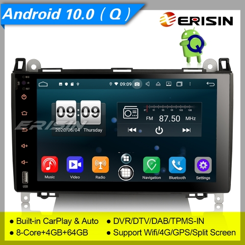 "Android 10.0 Mercedes Benz Autoradio W639 Viano W169 W245 CarPlay DAB+TPMS 9"" Erisin ES8792B"