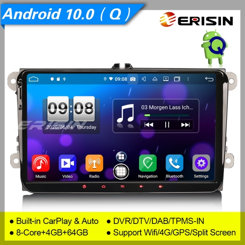 "Android 10.0 Autoradio For VW Seat Golf 5 6 Skoda Altea Fabia DAB+ CarPlay 9"" Erisin ES8791V"