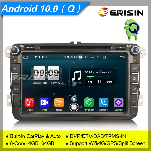 "PX5 Android 10.0 Autoradio For VW Skoda Golf 5 6 Beetle Seat Superb DAB+DSP 8"" Erisin ES8715V"