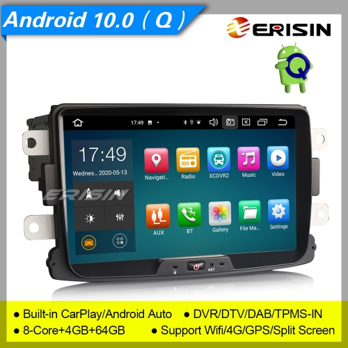 "4+64G 8-Core DSP CarPlay Android 10.0 DAB+ Renault Dacia Autoradio Logan TPMS GPS Bluetooth GPS TNT DVR OBD TPMS 8"" Erisin ES8129D"