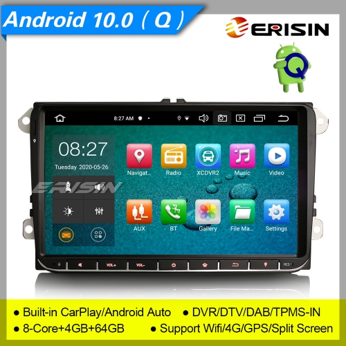 "4+64GB PX5 8 Core Android 10.0 Autoradio For VW Seat Golf Jetta Fabia Skoda Touran DAB+ GPS TNT DVT TPMS Bluetooth SWC 9"" Erisin ES8128V"