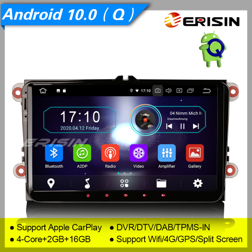 "2+16G PX30 Android 10.0 Autoradio For VW Superb Seat Golf Polo Yeti Skoda Passat Touran Tiguan DAB+ TNT GPS DVR TPMS BT 4G 9"" Erisin ES5991V"