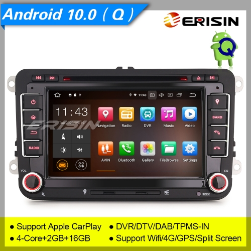 "2+16GB PX30 Android 10.0 Autoradio For VW T5 Seat Skoda Touran Golf Toledo Altea Roomster Yeti DAB+ DVR TPMS DTV GPS BT 7"" Erisin ES5148V"
