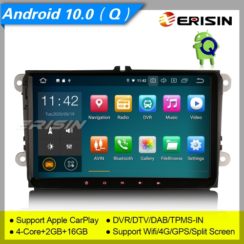"2+16GB PX30 Android 10.0 Autoradio For VW Seat Golf T5 Fabia Skoda Toledo  Jetta Tiguan CarPlay DAB+ DTV SWC DVR GPS TPMS BT 9"" Erisin ES5118V"