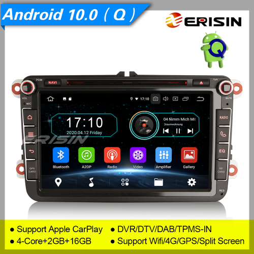 "2+16G PX30 Android 10.0 Autoradio For VW Superb Seat Golf Polo Yeti Skoda Passat Touran Tiguan DAB+ DTV GPS DVD TPMS BT 4G 8"" Erisin ES5985V"