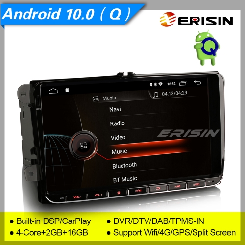 "2+16GB 4 Core Android 10.0 Autoradio For VW Seat Skoda Golf 5 6 T5 Superb Fabia Touran Touran DAB+ DSP CarPlay SWC DTV BT 4G 9"" Erisin ES4291V"
