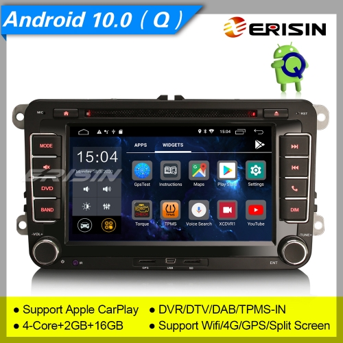 "2+16GB 4 Core Android 10.0 Autoradio For VW Seat Skoda Golf 5 6 Passat Fabia Superb Yeti Touran DSP DAB+CarPlay BT DTV GPS 7"" Erisin ES2655V"
