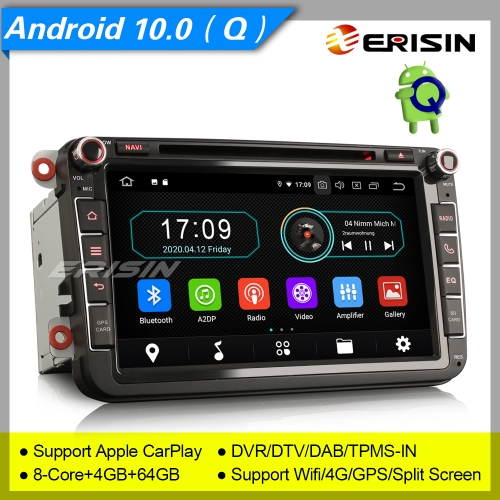 "4+64GB PX5 Android 10.0 Autoradio For VW Superb Seat Golf Polo Yeti Skoda Passat Touran Tiguan DAB+ DTV GPS DVD TPMS BT 4G 8"" Erisin ES6985V"