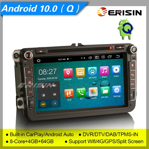 "4+64G 8 Core DSP CarPlay Android 10.0 Autoradio For VW Seat Skoda Golf Toledo Altea Yeti DAB+ TNT SWC DVD GPS BT SWC 8"" Erisin ES8105V"