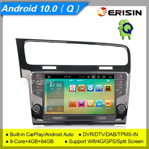 "4+64G 8 Core DSP Autoradio Android 10.0 For VW Golf VII 7 CarPlay DAB+ DTV DVR GPS TPMS CAM OBD 4G Bluetooth SWC USB 9"" Erisin ES8111G"