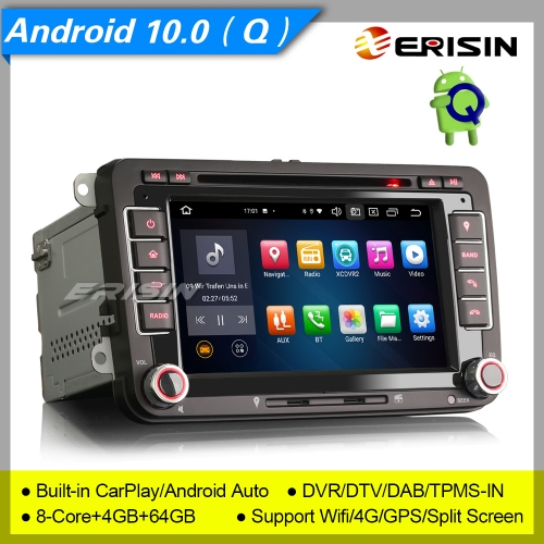 "4+64G 8 Core DSP CarPlay Android 10.0 Autoradio For VW Seat Skoda Golf Toledo Altea Yeti DAB+ DTV SWC DVD GPS BT SWC 7"" Erisin ES8148V"