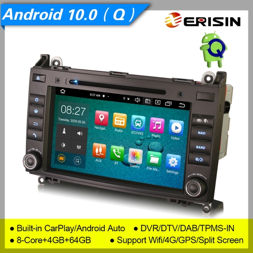 "4+64G 8 Core CarPlay DSP Android 10.0 Car Stereo Mercedes Benz A B Class W169 W245 Sprinter Viano Vito W639 VW Crafter DAB+ Radio 8"" Erisin ES8121B"