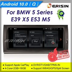 "2+16GB PX30 Android 10.0 CarPlay Autoradio BMW E39 E53 BT5.0 5er X5 DAB+ OBD CAM DVR TPMS DTV SWC BT5.0 10.25"" Erisin ES5153B"