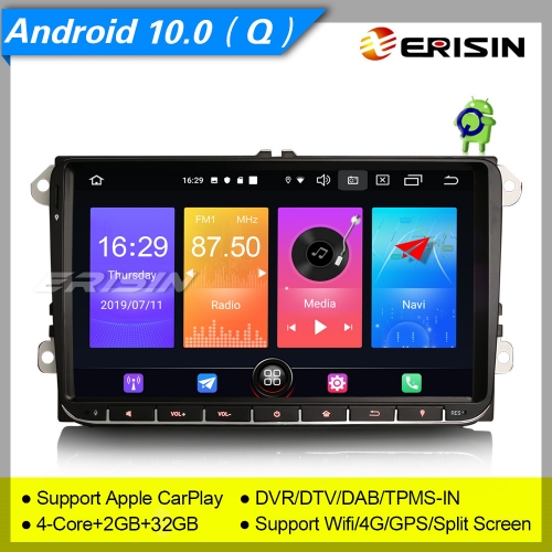 "Erisin Autoradio ES2728V 9"" SWC Android 10.0 For VW Seat Golf T5 Fabia Skoda Multivan 4G DAB+ 3-UI OBD DVR TPMS Wifi TNT Mirror"
