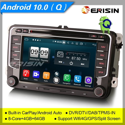 "Android 10.0 Autoradio For VW Seat Golf T5 Skoda Altea Fabia GPS DVD DAB+ CarPlay 7"" Erisin ES8735V"