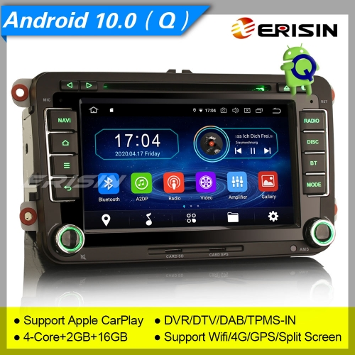 "2+16GB PX30 Android 10.0 VW SEAT SKODA Golf Jetta Passat Touran Altea Fabia 2 Din Autoradio  DAB+ DVD TPMS CarPlay Bluetooth GPS DVR 7"" Erisin ES5948V"