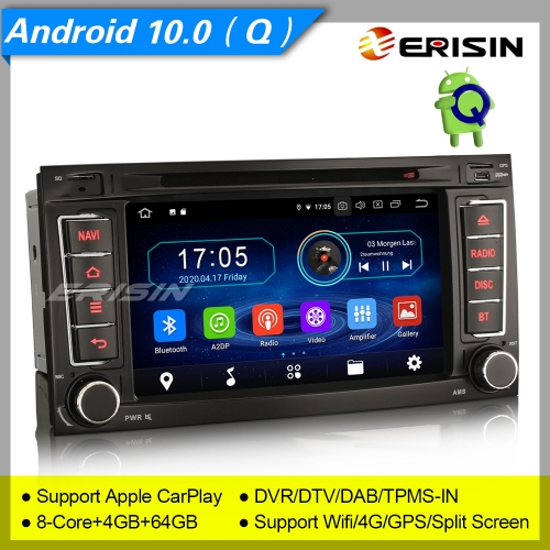 "4+64GB PX5 8 Core Android 10.0 2 Din Autoradio VW TOUAREG T5 Multivan DAB+ DVD TPMS CarPlay Bluetooth GPS DVR OBD 7"" Erisin ES6956T"